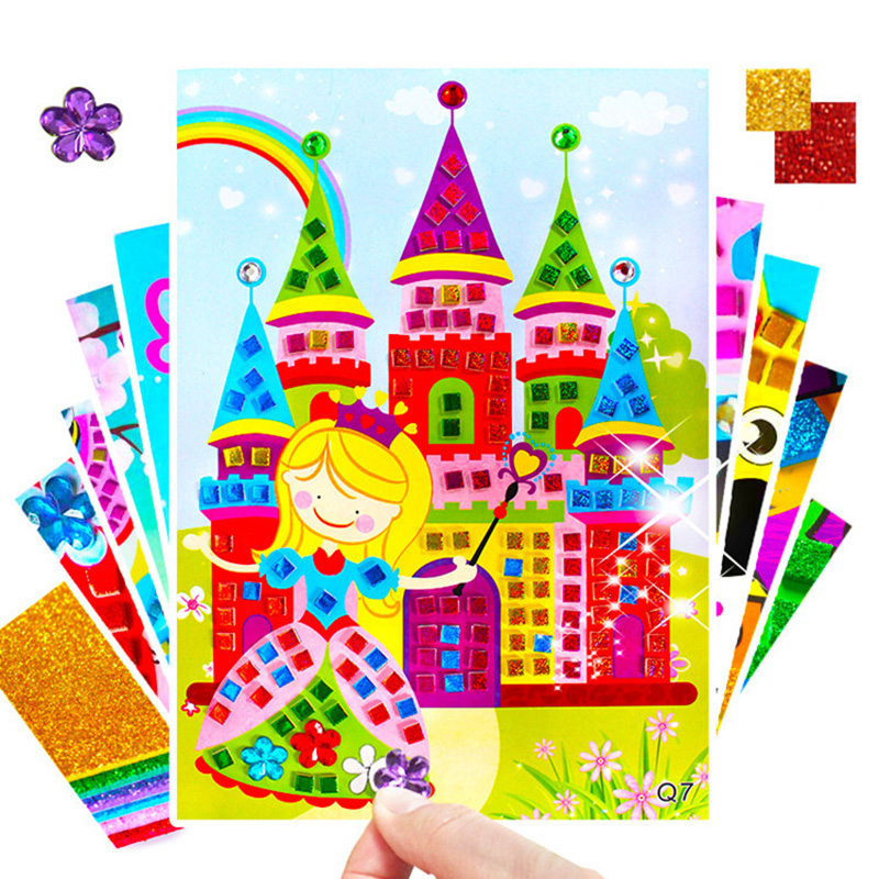 12pcs Kids Diy Handicraft Set Colorful Mosaic Stickers Shiny Diamond Sticker Painting Kindergarten Handmade Materials