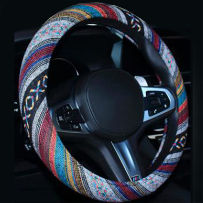 Car Accessories Elastic Car Styling Ethnic Style Car Steering Wheel Cover Linen Universal