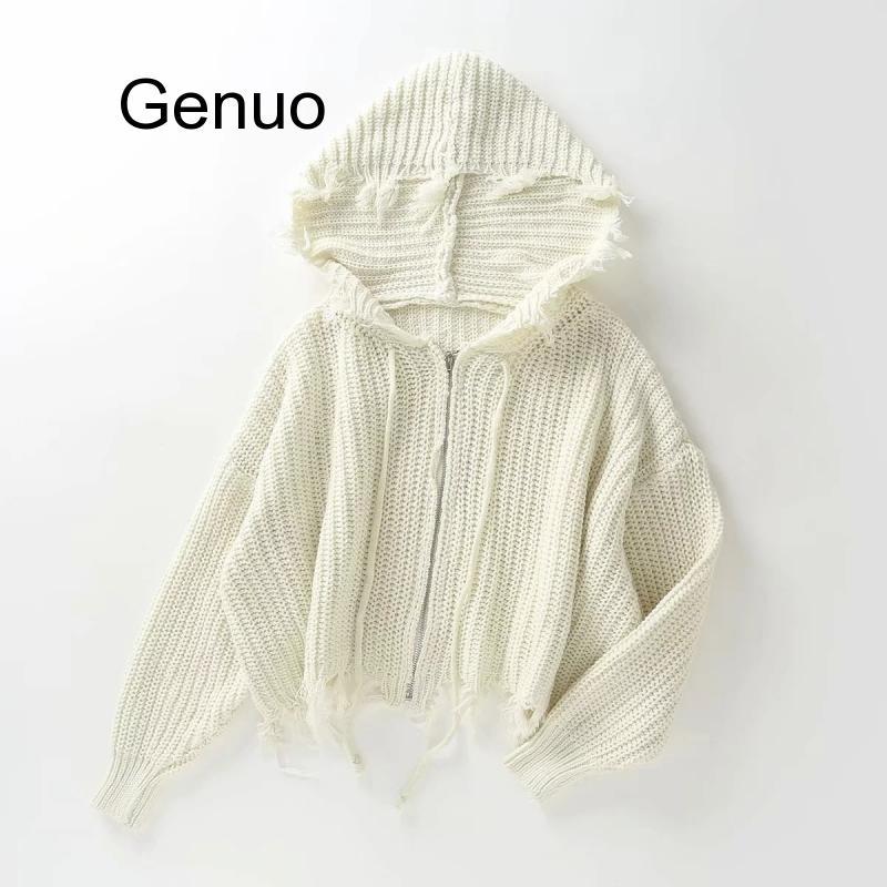 Купить женский повседневный вязаный свитер с бахромой свободные укороченные