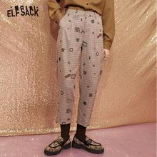 ELFSACK Plaid Funny Graphic British Straight Casual Women Pants,2020 Autumn ELF Vintage High Waist ,Korean Ladies Daily Trouser
