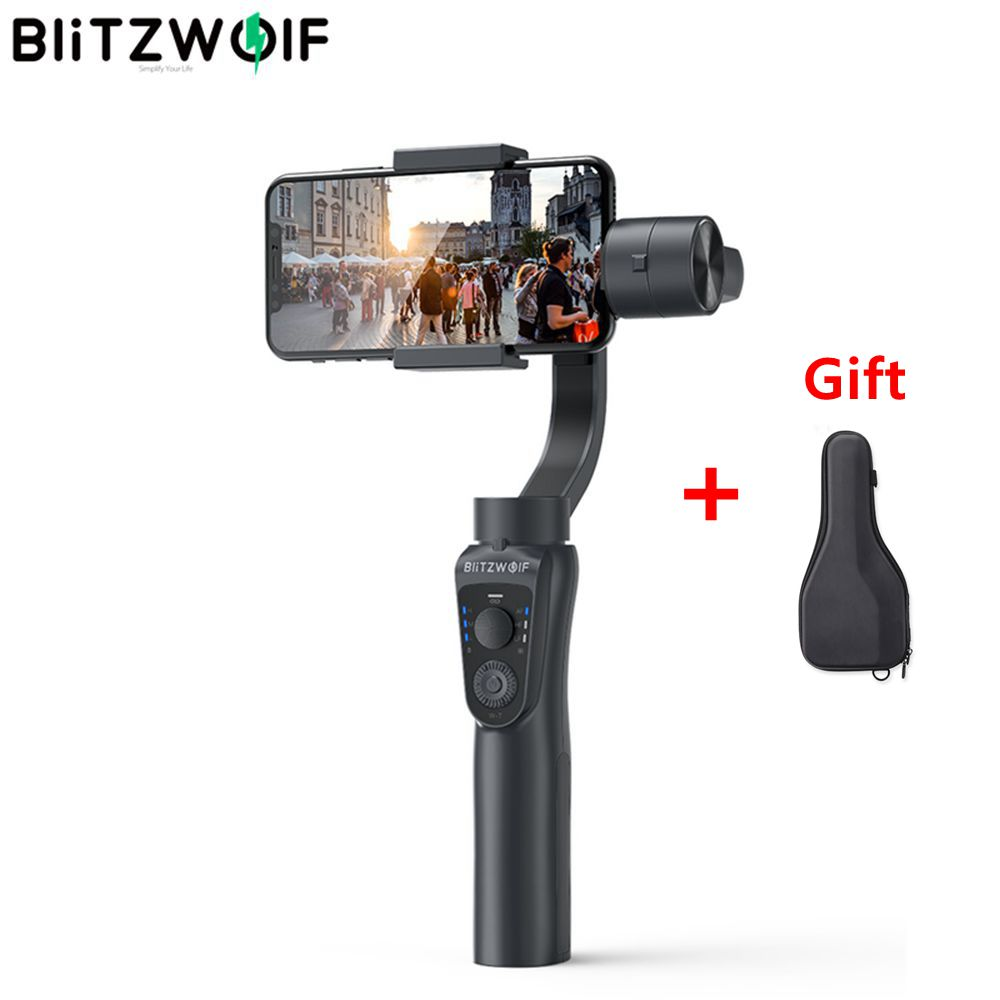 BlitzWolf BW-BS14 3-Achsen-Bluetooth-Handheld-Gimbal-Stabilisator für iPhone Youtube Vlog Xiaomi Huawei-Handys Smartphone Live-Stream Video-Dreharbeiten Reisetour Tiktok