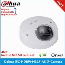 Original dahua inglês versão IPC HDBW4431F AS câmera ip 4mp ik10 ir20m ip67 embutido microfone slot para cartão sd mini câmera de rede cúpula