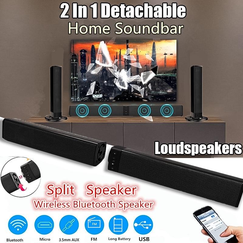 Detachable Soundbar Wireless FM Blueatooth Speaker TV AUX Home Theater Subwoofer