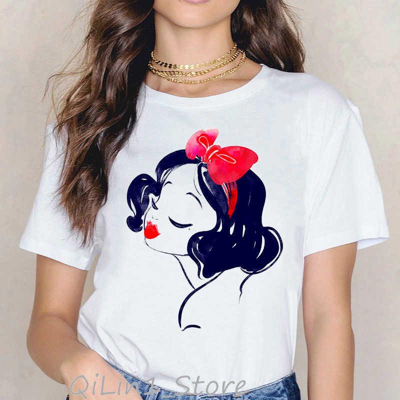 Zły tatuaż księżniczka drukuj śmieszne koszulki z krótkim rękawem kobiety kawaii ubrania letni top koszulkę femme camiseta mujer śliczny śnieżnobiały t-shirt