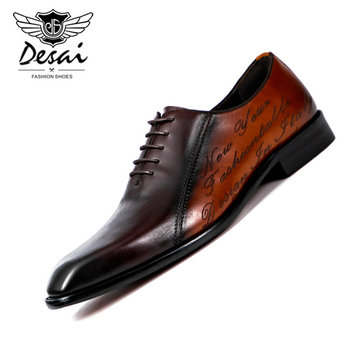 DESAI Vintage Design Oxford Mens Dress Shoes Formal Business Lace-up Full Grain Leather Minimalist Shoes for Men