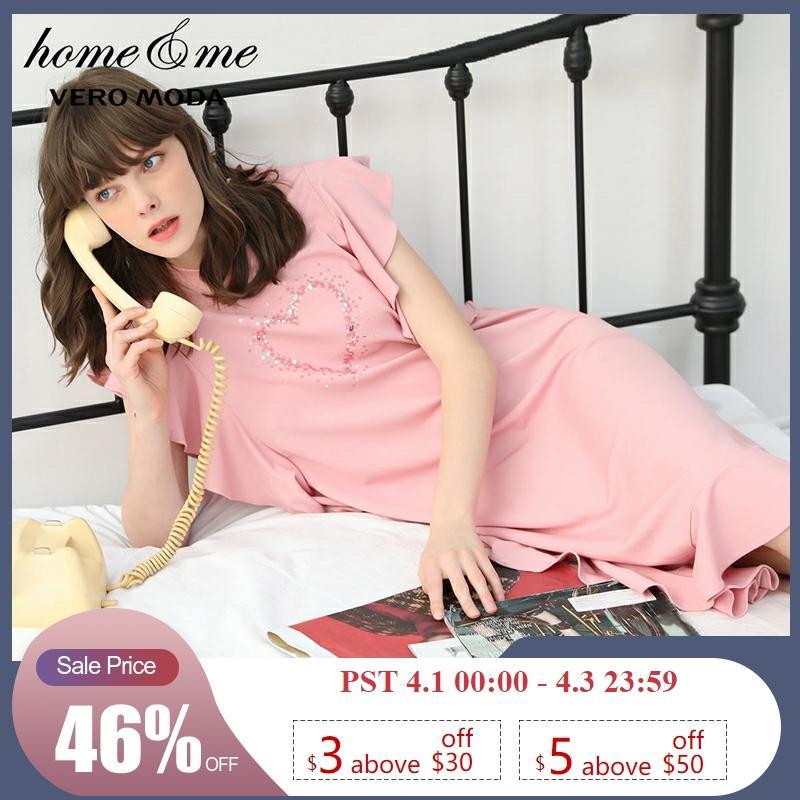 Vero Moda New Paillette Ruffled Night Dress Homewear Dress | 319261510