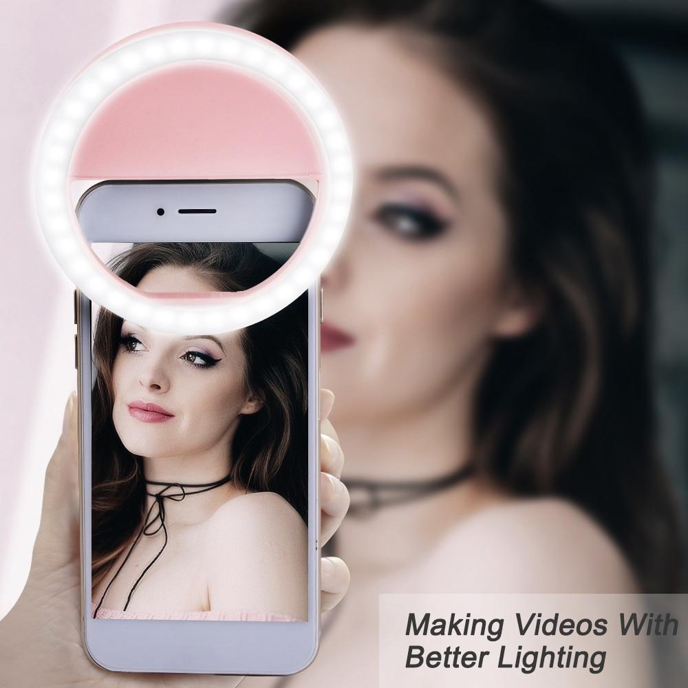 Portable Selfie Toning Ring Light 3 Colors Brightness Adjustable Camera Phone Photography Ring Lamp Novelty Lighting USB Charge
