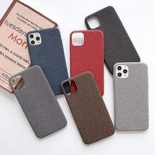 10 개/몫 직물 소프트 뒷면 커버 아이폰 7 8 6 6 s 플러스 코 튼 린 넨 천으로 전화 케이스 아이폰 x xr xs 11 프로 최대