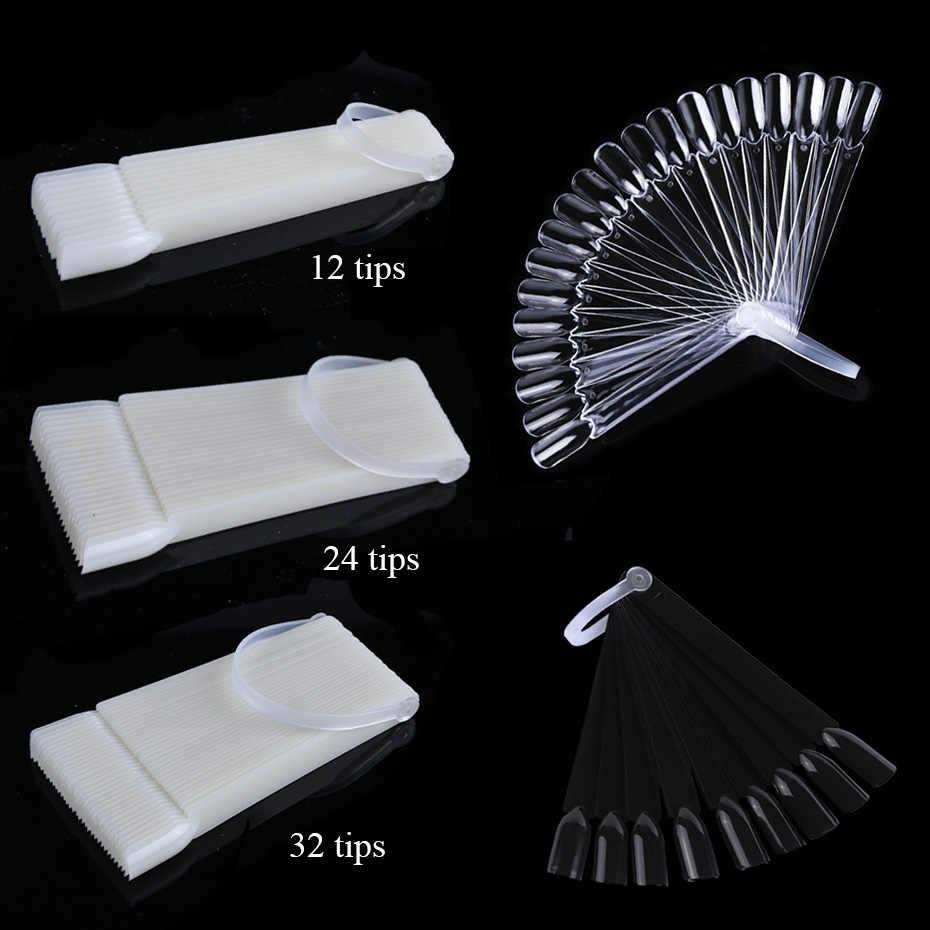 1 Набор накладных насадок для маникюра, демонстрационные веерообразные съемные искусственные накладные палитры для ногтей, натуральные прозрачные черные насадки LA386-1