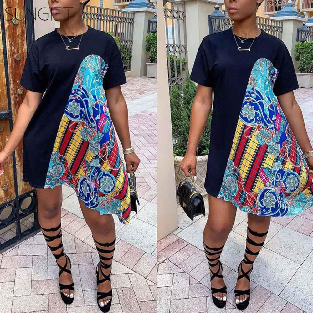 SUNGIFT Dashiki African Clothing Women Tshirt Dress 2019 Round-neck Summer Dresses Short Sleeve Casual Sexy Boho Beach Dress