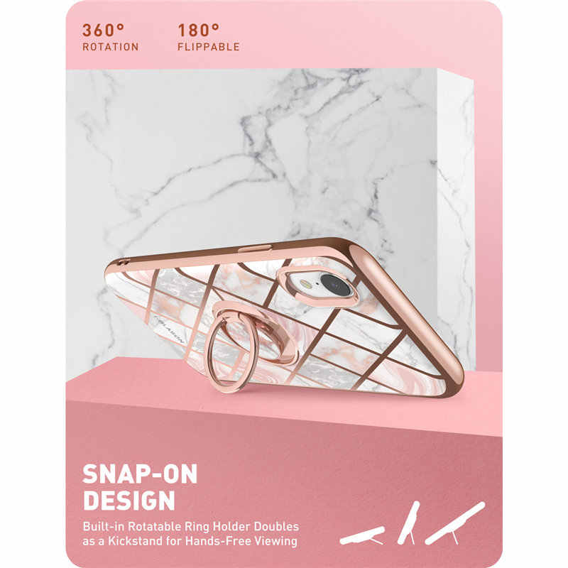 For iphone XR Case i-Blason Cosmo Snap Slim Marble Cover with Built-in 360° Rotatable Ring Holder Kickstand Support Car Mount