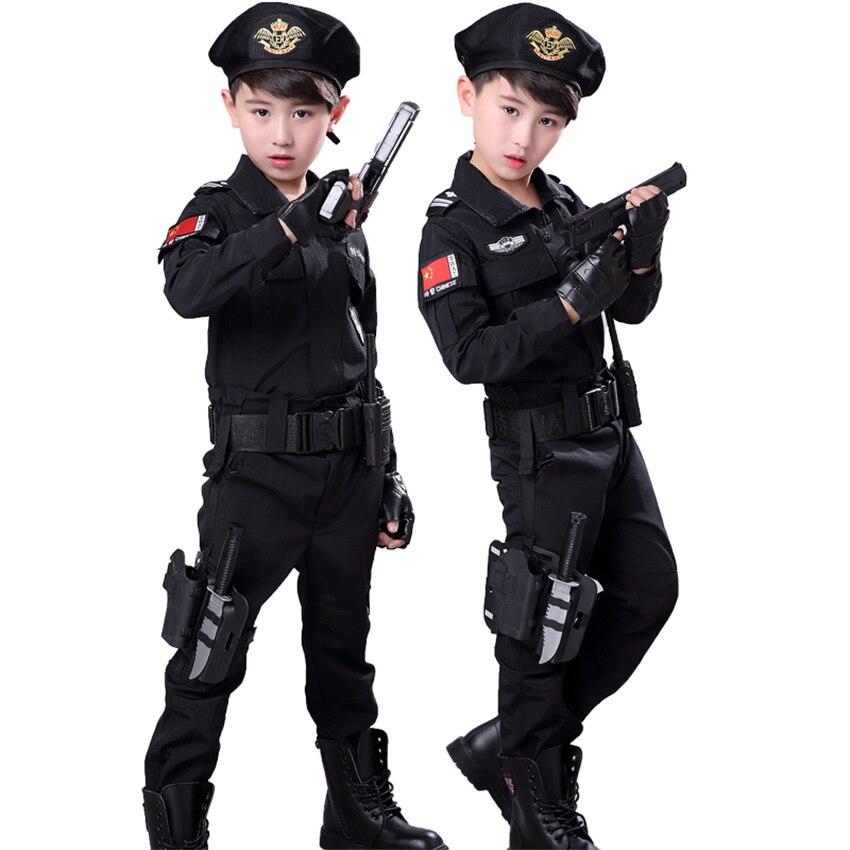 Halloween Policeman Uniforms Fancy SWAT Kids Cosplay Costume Special Police Party Clothing Set Combat Tactics Suit For Children