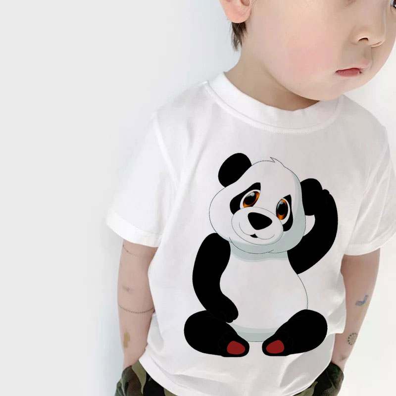 2019 Children Round Neck Shirt Cute Panda Bear Pattern Print T-shirt Girl Short Sleeve Boys T Shirts Casual Design Kids Clothes