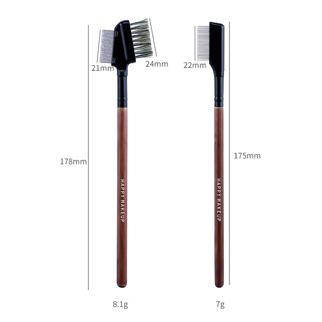 Professional Makeup Brushes for Eye Stainless Steel Eyebrow Comb Wood Handle Double-Sided Eyelash Comb with Cover Cosmetic Tools 6