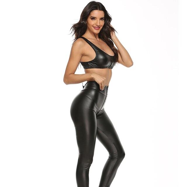 2PCS/Set Sexy PU Zipper Open Crotch Latex Pencil Pants With Vest Shiny Exotic Apparel High Elastic Clubwear Sex Party Costumes 2