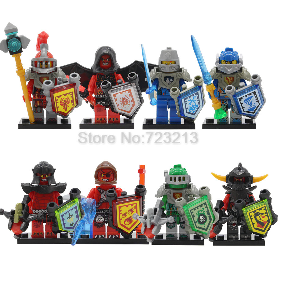 Discount 8pcs/lot Nick Nexoed Knights Figure Set Aaron Burnzie Beast Master Castle Warriors Building Blocks Models Bricks Toys