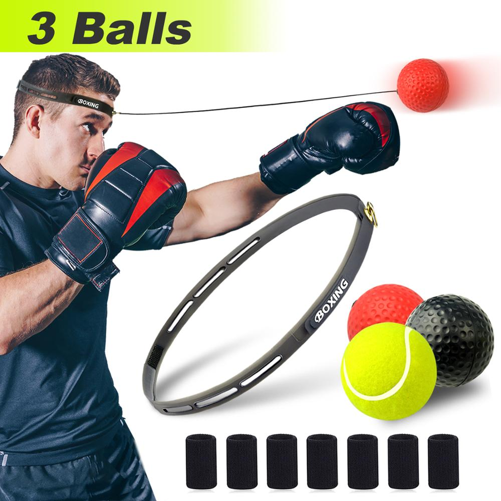 BXIO Boxing Reflex Balls 3 Difficulty, Fight Training Set For Hand Eye Coordination, Reaction Speed And Agility For Kids And Adults