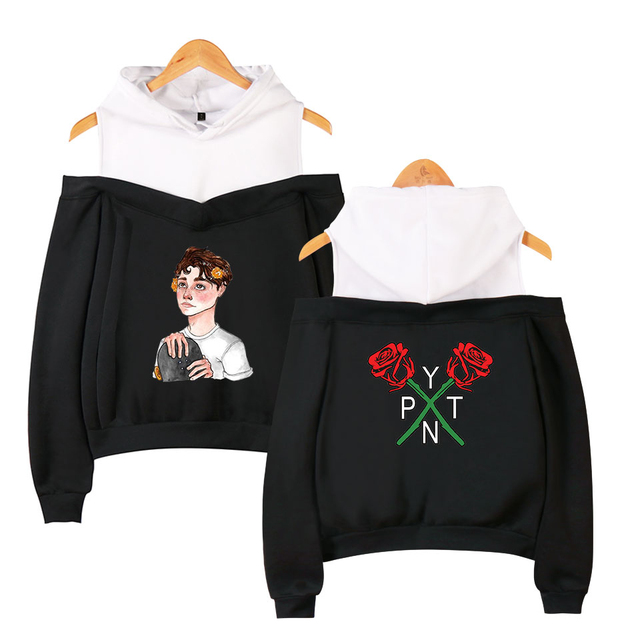 PAYTON MOORMEIER CROP TOP OFF-SHOULDER HOODIE (26 VARIAN)