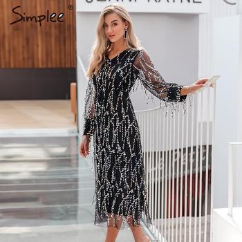 Simplee Sexy v-neck evening women maxi dress Elegant mesh long sleeve sequin night dress autumn lady plus size party dress 2019 8