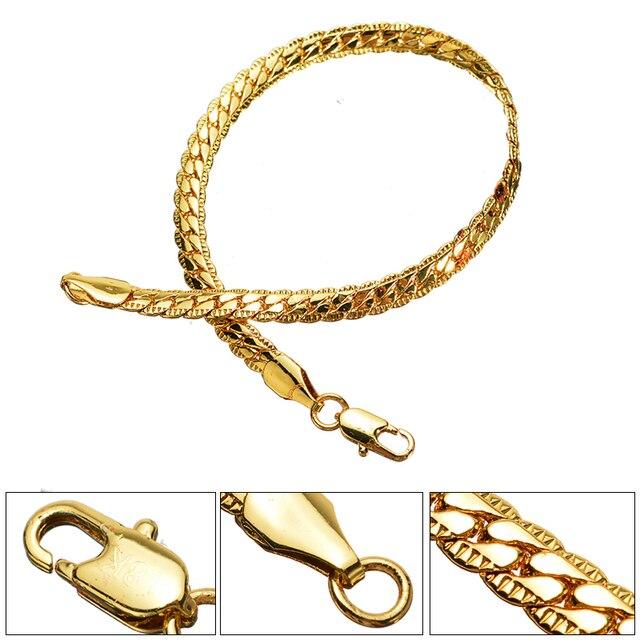 Men's Bracelet Fashion Jewelry Gold Color Flat Snake Bone  Bangle Bracelet Shellhard Curb Chain Male Pulseira