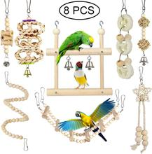 8Pcs Bird Toys Parrot Toys Bird Swing Chewing Hanging Perches for Love Birds Budgie Cockatiels Macaws Parakeets Conure Finches