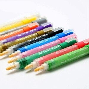 Image 5 - 24 Màu Sắc Sơn Acrylic Bút Bút Bút Sơn Cho Đá Tranh Vải Thủ Công Diy Thẻ Làm Nghệ Thuật Đồ Dùng Học Tập