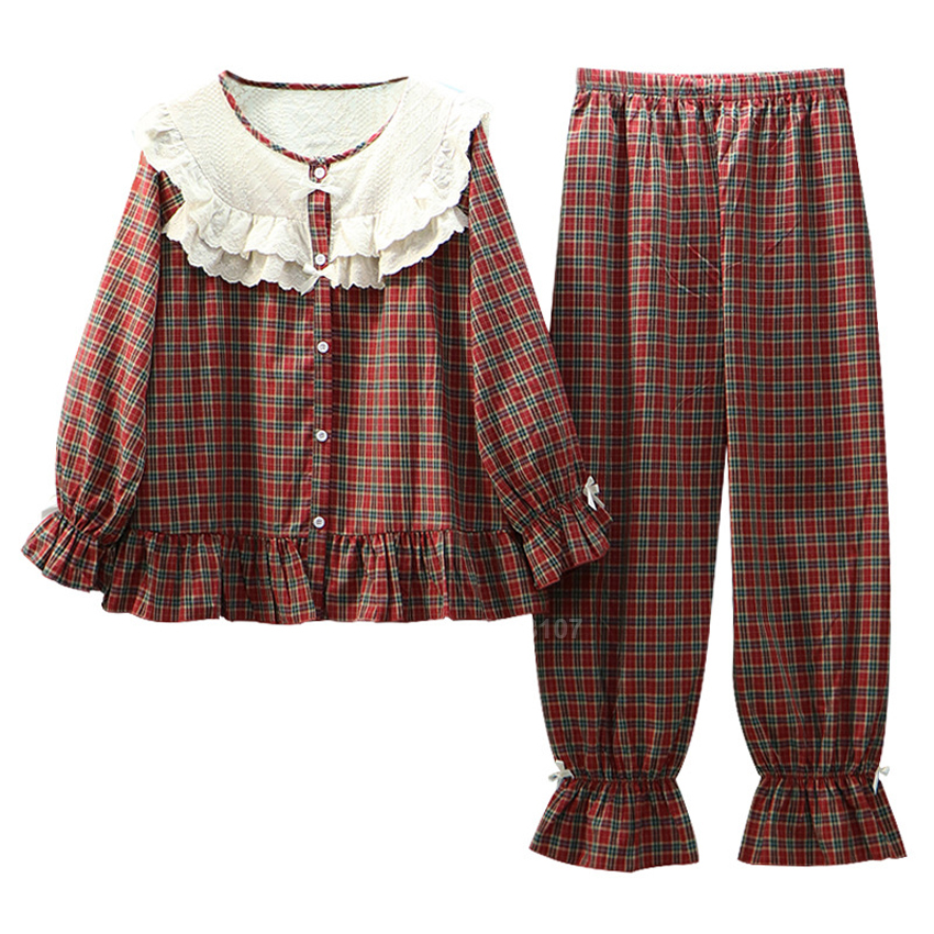 Mori Girl Pajamas Set Ruffle Peter Pan Collar Medieval Dirndl Women Top Trousers Renaissance Plaid Flare Sleeve Nighgown Pyjamas