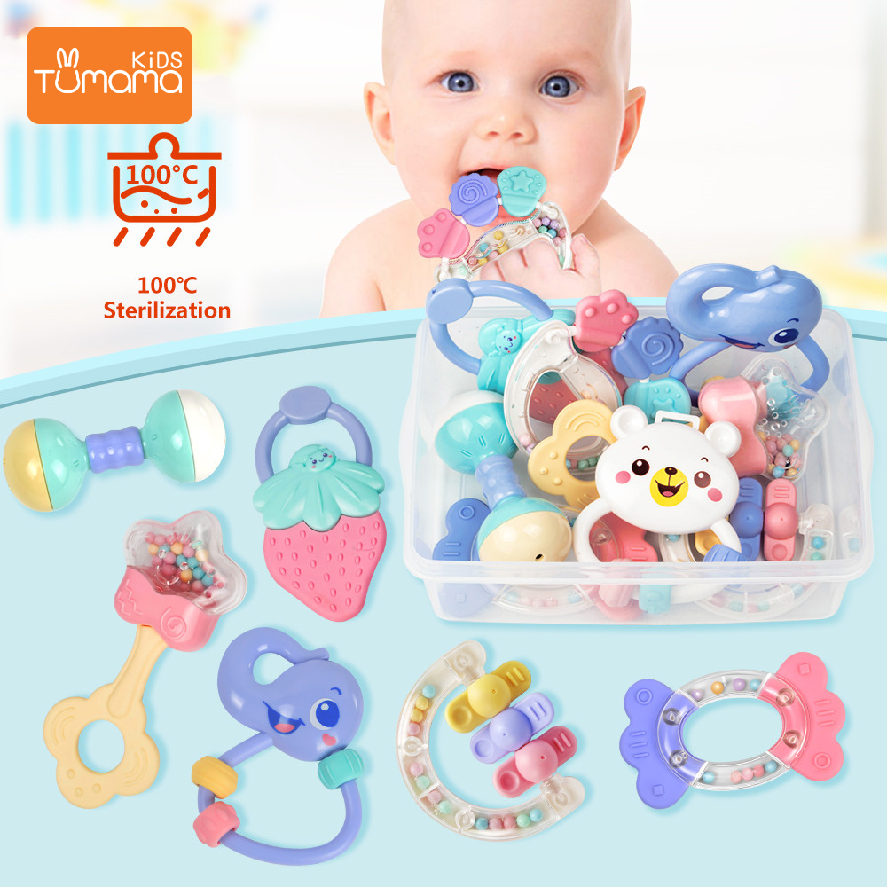 TUMAMA  8Pcs/Set Colorful Baby Rattle Set Montessori Toys Teething Crib Mobiles Baby Teether Rattles For Baby 0- 12 Months