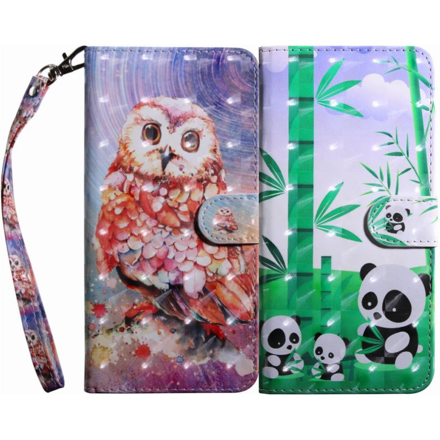 Owl Panda Leather Case For Frame Huawei P Smart Y6 Y3 2017 Y7 Pro 2018 Y5 Prime Honor 7X 8X 9 Lite 10 V10 Play Patten Capa DP29G image