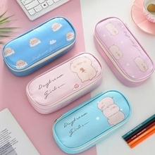Kawaii Pig Pencil Case Leather for Girls  Boys Big Pencilcase Cute Flamingo Box Gift Storage Pouch Stationery