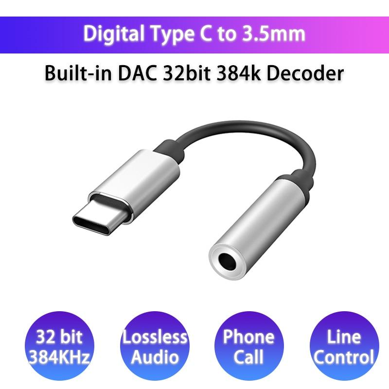 USB C DAC Earphone Adapter Jack Type C To 3.5mm Digital Audio Converter HiFi Decoder For SAMSUNG Note10 OnePlus Pixel Huawei Mi