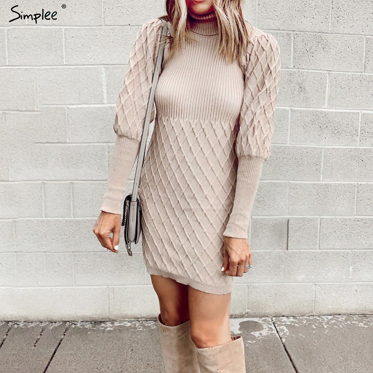 Simplee Turtleneck Long Cable Knitted Women Pullover Sweater Dress Vintage Autumn Winter Lantern Sleeve Female Outwear Dresses