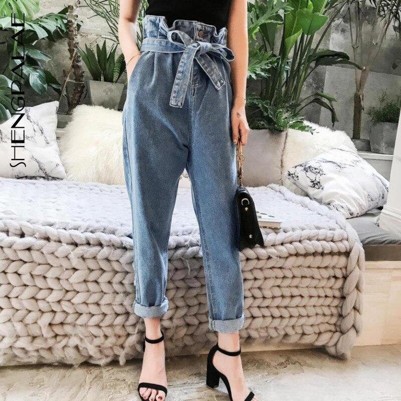 SHENGPALAE Summer New Women Jeans Woman Fashion Vintage Ripped High Waist Cord Denim Loose Harem Pants ZA3850