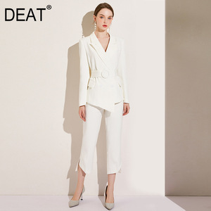 DEAT 2020 notched collar full sleeves white asymmetrical high waist single blazer and anlke length pants two pieces set WM88700L