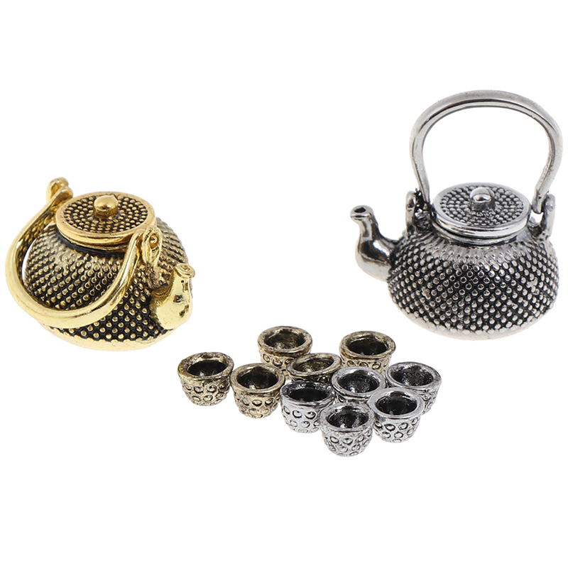 6pcs/Set 1: 12 Dollhouse Furniture Miniature Teapot Cup Plate 1 Teapot With Lid+ 5Cups Dining Ware Toy Metal Tea Set