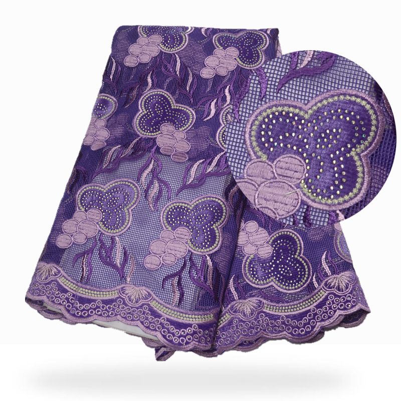 New African lace fabric, light purple mesh lace with delicate stones and embroidered lace, Nigerian velvet fabric wedding dress