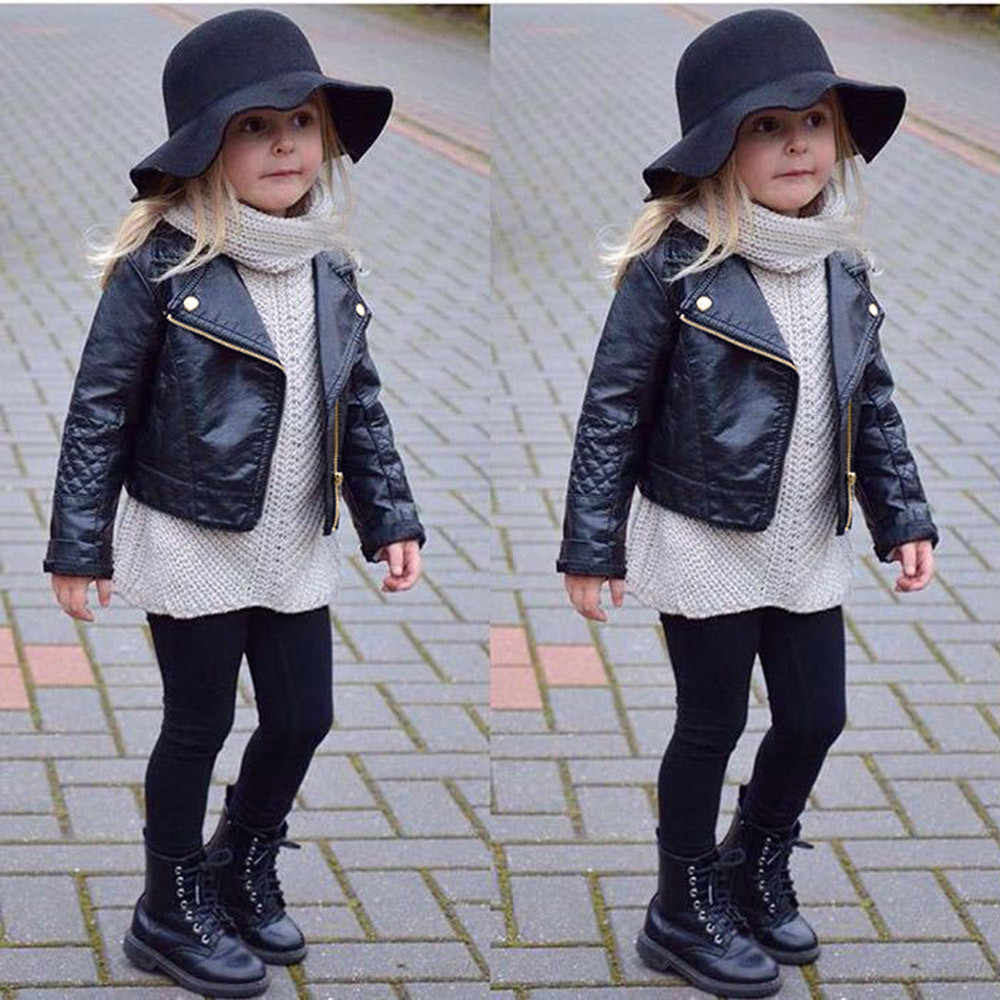 2019 Children Autumn Winter Jacket Toddler Kids PU Leather Coat Baby Boys and Girls Short Children Jacket Zipper Coats Outwear