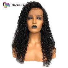 Brennas кудрявый вьющиеся парики фронта шнурка естественный цвет бразильские человеческие волосы Remy от 13x6 глубокий часть синтетические волосы парики шнурка 8 ''-26''