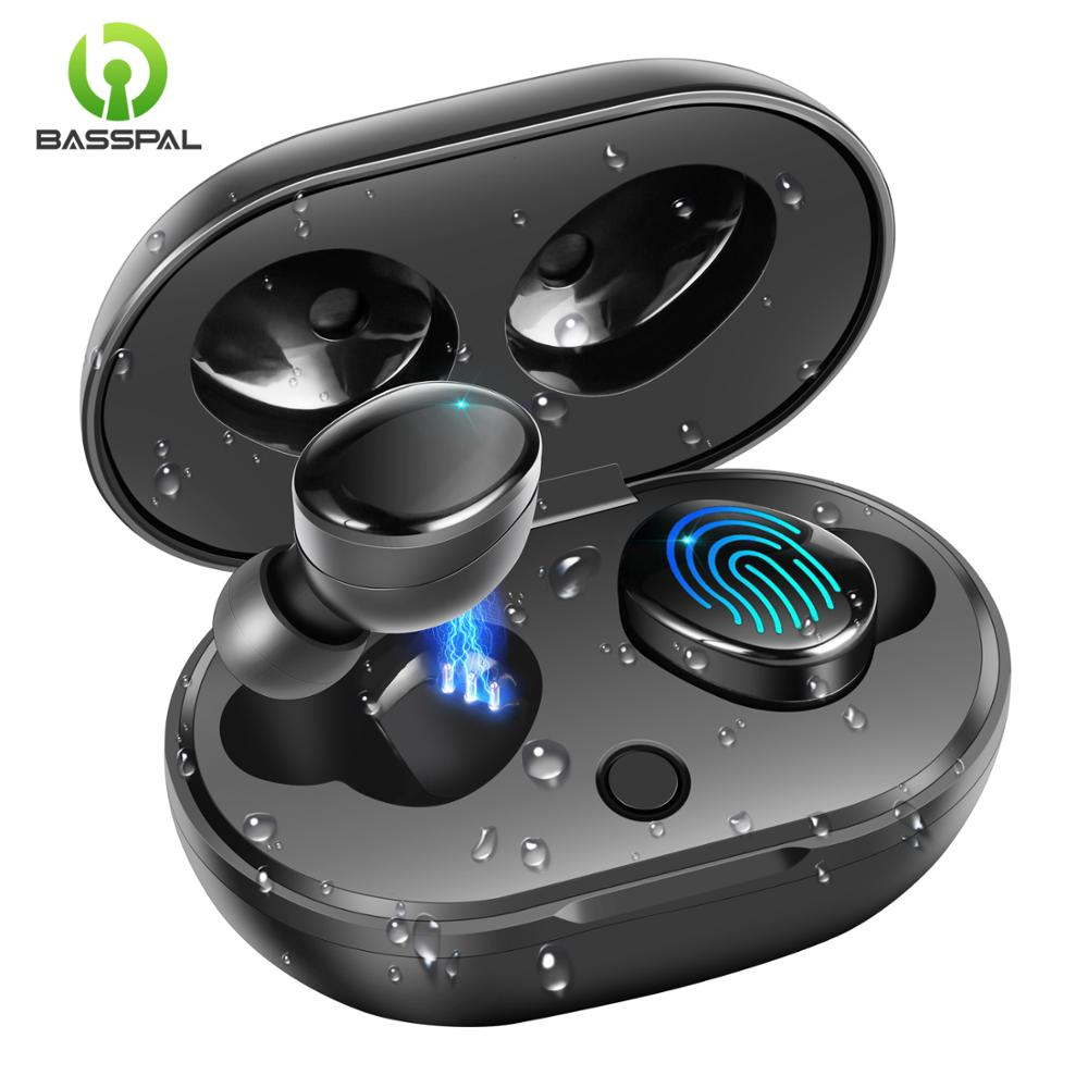 BassPal TWS 5.0 Wireless Bluetooth Earphone IPX7 Waterproof True Wireless Headphones Touch Control Earbuds With Charging Case