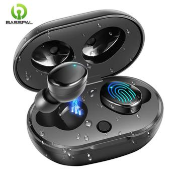 BassPal TWS 5.0 Wireless Bluetooth Earphone IPX7 Waterproof True Wireless Headphones Touch Control Earbuds with Charging Case