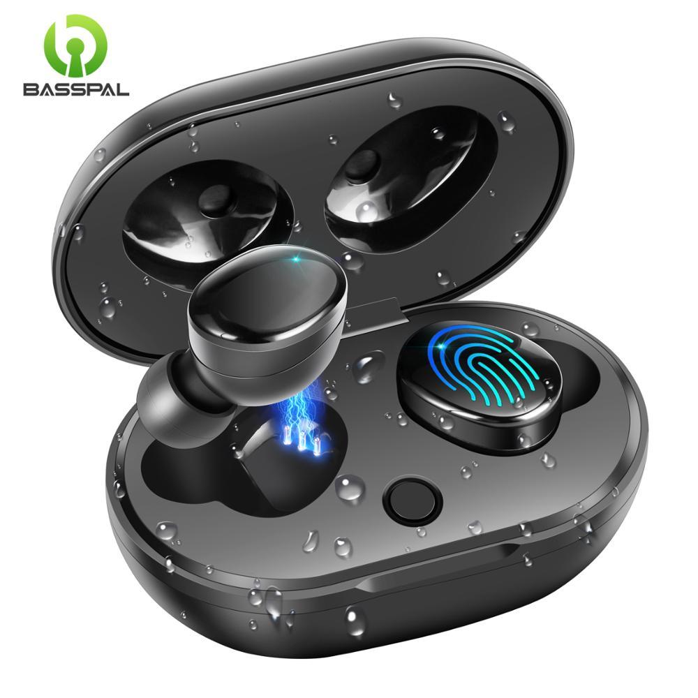 BassPal TWS 5 0 Wireless Bluetooth Earphone Waterproof True Wireless Earphones 880 Touch Control Earbuds with Charging Case