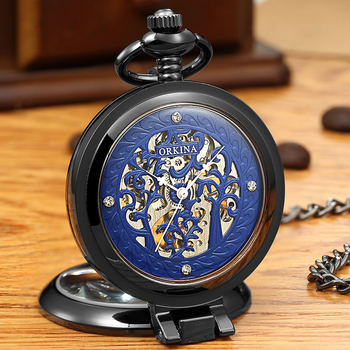 Golden Black Sliver Antique Hollow Automatic Mechanical Pocket Watch FOB Chain Hand Winding Full Steel Sculpture For Men Wome golden black sliver antique hollow automatic mechanical pocket watch fob chain hand winding full steel sculpture for men wome