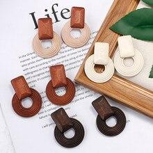 Anesoa feito à mão étnico brincos de gota de madeira moda feminina marrom declaração de madeira coreano pingente brincos exclusivo jóias presente