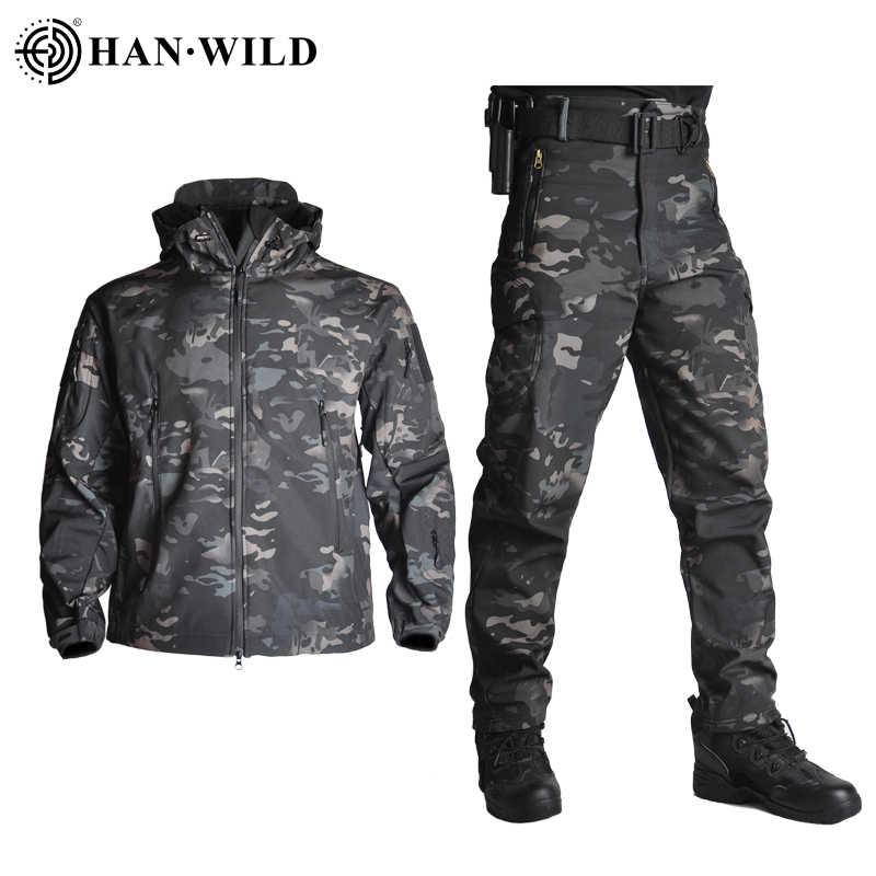 Тактические Куртки HAN WILD TAD, мужская куртка с мягкой оболочкой, армейский ветрозащитный Камуфляжный охотничий костюм из кожи акулы, военная походная куртка + штаны