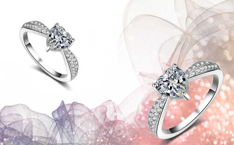 Yanhui Fashion 925 Sterling Silver Crystal Hati Berbentuk Cincin Pernikahan Wanita 3ct Pertunangan Zirkon Cincin Glamor Perhiasan Hadiah