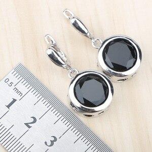 Image 4 - 黒ジルコン 925 シルバーブライダルジュエリーセットイヤリング石/リング/ペンダント/ネックレス/ブレスレットセットのための女性無料ギフトボックス