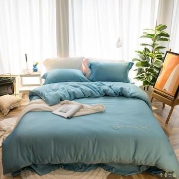 Azul de Prusia, juego de cama Tencel funda nórdica de algodón de fibra larga, fundas de almohada reina rey tamaño de cama ropa de cama 4 Uds 2020 nuevo