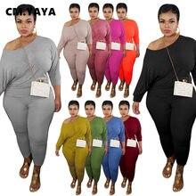 CM.YAYA artı boyutu XL-5XL kadın seti iki adet Set eşofman Batwing kollu Tee Tops Jogger Sweatpant takım elbise kıyafet eşleşen seti