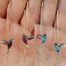 Модные серьги гвоздики с животными для птиц длинные кисточками