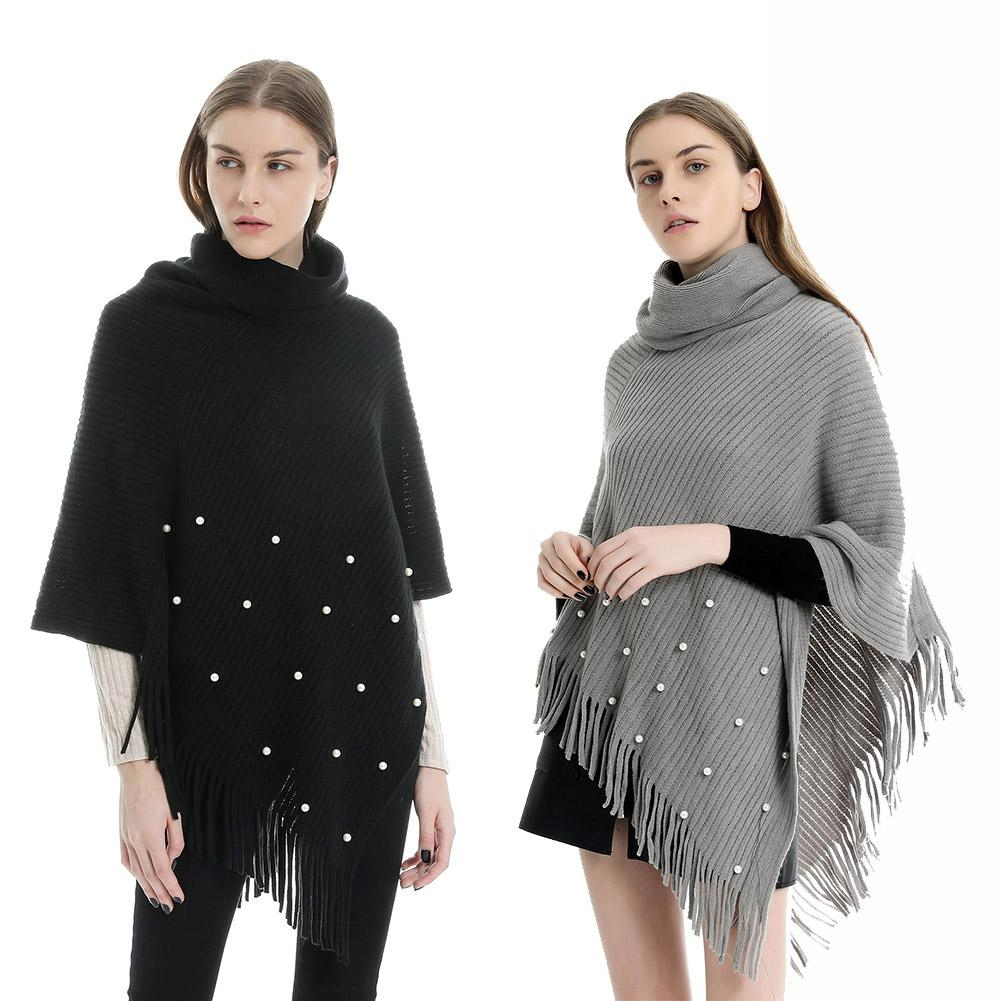 Women Turtle Neck Faux Pearl Beading Knit Scarf Poncho Sweater Tassel Shawl Cape